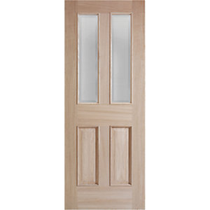 Wickes Denham Internal Oak Veneer Door Glazed 4 Panel 1981x838mm
