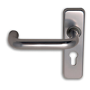 Image of 4FireDoors Roundbar Euro Profile Lock Lever Door Handle - Satin Aluminium 19mm