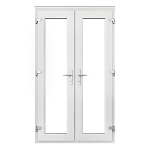 Wickes upvc french door 4ft with chrome handles octer for Upvc offset french doors