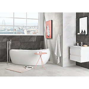 Wickes Amaro Charcoal Porcelain Tile 615 x 308mm.