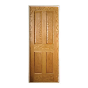 Wickes Cobham Internal Pre Finished Oak Veneer Door 4 Panel 1981 x 762mm