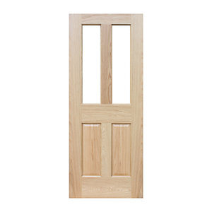 Wickes Cobham Internal Pre Finished Glazed 4 Panel Oak Veneer Door - 1981 x 762mm