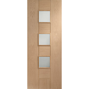 XL Messina Internal Oak Veneer Door with Obscure Glaze 8 Panel 1981 x 762mm