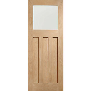 XL Dx Internal Oak Veneer Door with Obscure Glaze 3 Panel 1981 x 762mm