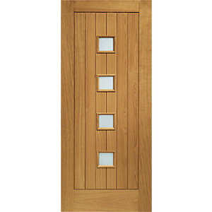 XL Siena External Oak Veneer Right Handed Fully Finished Door Set 2067 x 926mm