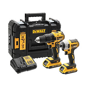 Image of DeWalt DCK2059D2T 18V XR Brushless Compact Drill Driver & Impact Driver Twin Kit