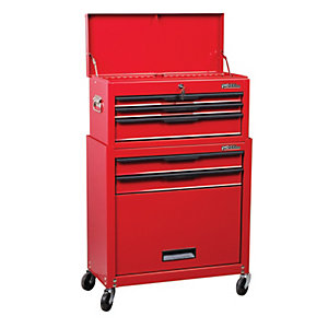 Hilka Heavy Duty 5 Drawer Combination Tool Chest and Cabinet Set - Red