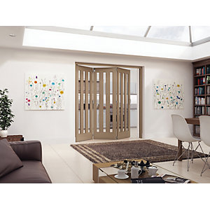 Jeld-Wen York Internal Folding Oak Veneer 3 Lite Clear Glazed 3 Door -  2047 x 1929mm