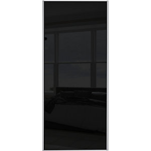 Wickes Sliding Wardrobe Door Silver Framed Single Panel Black Glass 2220 x 914mm.