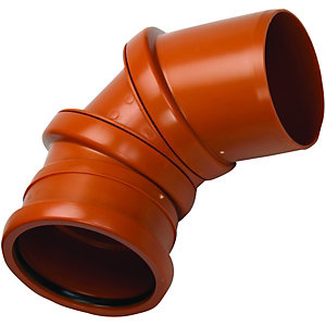 Wickes 110mm Terracotta Drain Adjustable 0 Deg to 90 Deg Single Socket Bend.