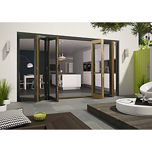 Wickes Cairo External Folding Door Set Aluminium-clad Grey 14ft Wide Reversible