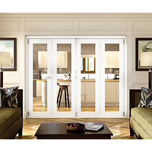 Wickes Belgrave Internal Folding 4 Door Set White Pre-finished 1 Lite 2074 x 2990mm