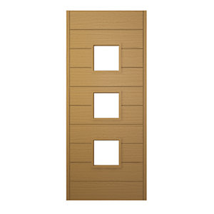 Wickes Malmo External Oak Veneer Glazed Door 1981 x 762mm