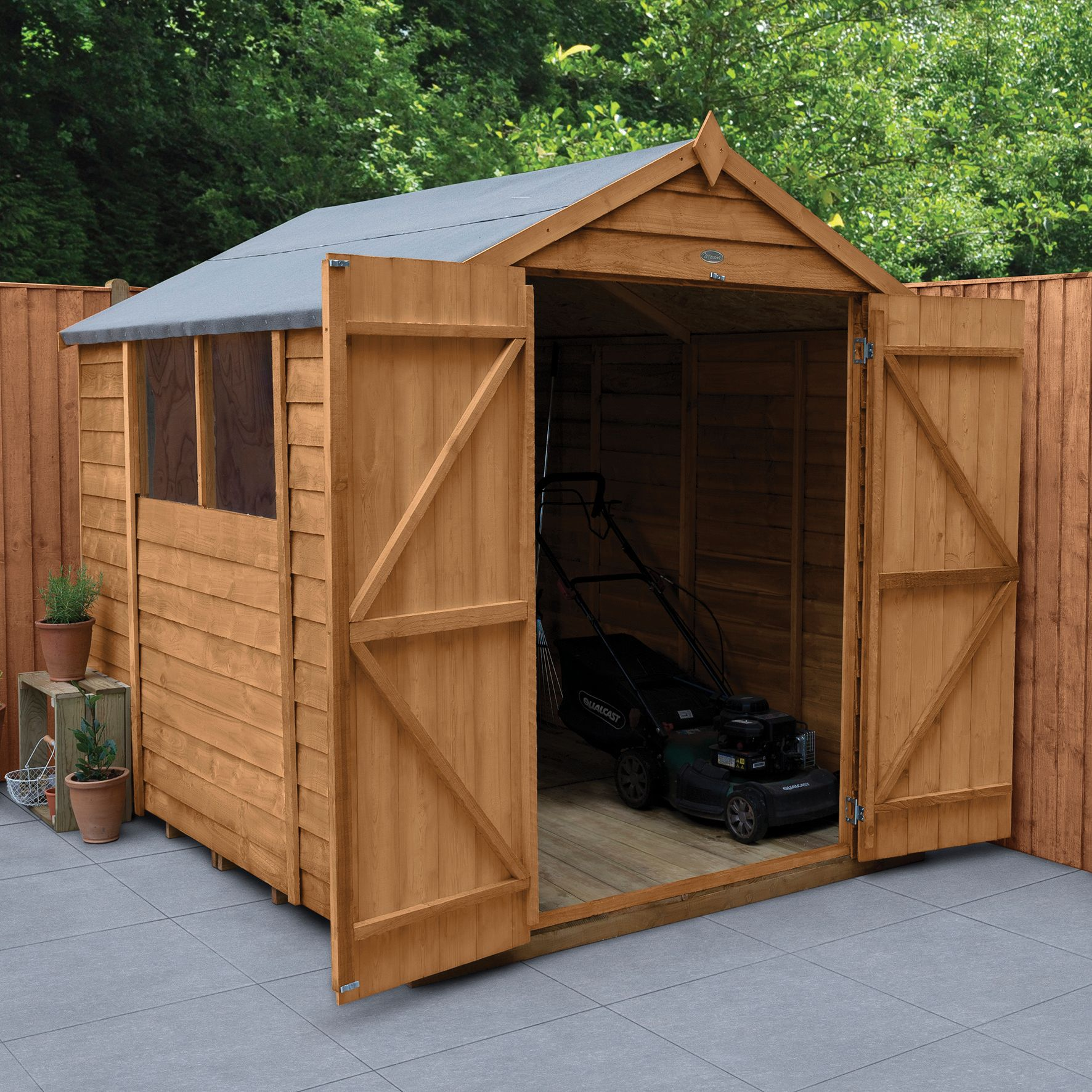 Wickes Apex Overlap Dip Treated Double Door Shed 6 X 8 Ft | Wickes.co.uk