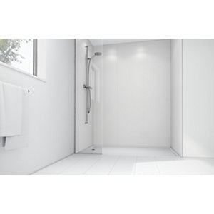Wickes White Matte Acrylic 1200 x 900 3 Sided Shower Panel Kit at Wickes DIY