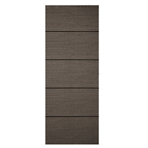Wickes Milan Internal 4 Line Horizontal Charcoal Grey Real Wood Veneer Door 1981x686mm