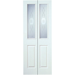 Wickes Stirling Internal White Grained Glazed Moulded 4 Panel Bi-fold Door - 1981 x 762mm