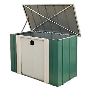 rowlinson metal storette without floor pent green white 4 x 2 ft