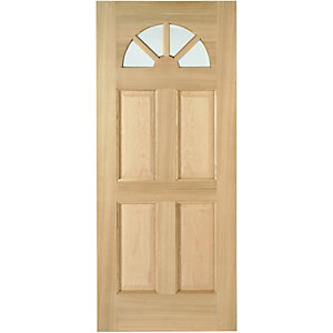Wickes Carolina External Oak Veneer Door Glazed 4 Panel 1981 x 762mm