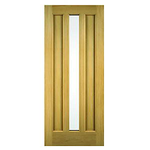 Wickes York External Oak Veneer Door Glazed 1981 x 762mm