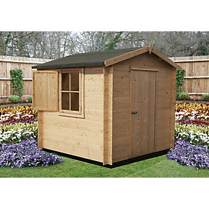 Shire Camelot Log Cabin With Shuttered Window - 7 x 7 ft - With Assembly