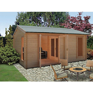 Shire Firestone 3 Room Double Door Log Cabin - 12 x 15 ft - With Assembly
