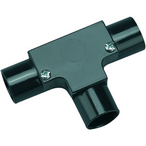 Wickes Trunking Inspection Tee Black 20mm.