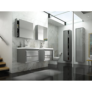 Wickes Novellara Grey Gloss Wall Hung Vanity Unit - 600 mm