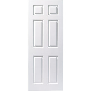 wickes woburn internal fire door white smooth moulded 6 panel 1981mm height