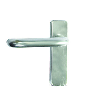 Image of Urfic FD087 19mm Roundbar On Plate Lever Door Handle - Satin Aluminium