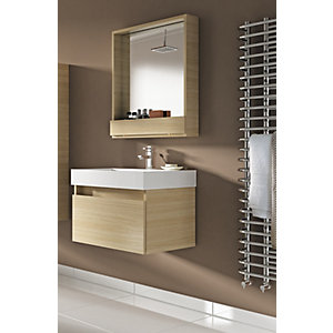 Wickes Mondavio Aragon Oak Wall Hung Vanity Unit with Basin - 600mm