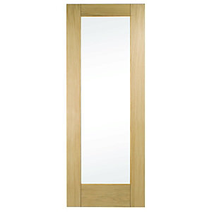 Wickes Oxford Internal Oak Veneer Door Glazed 1 Panel 1981x838mm