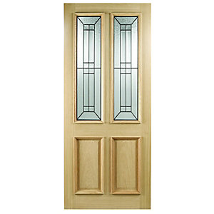 Wickes Malton External Oak Veneer Door Glazed 2 Panel 1981 x 838mm
