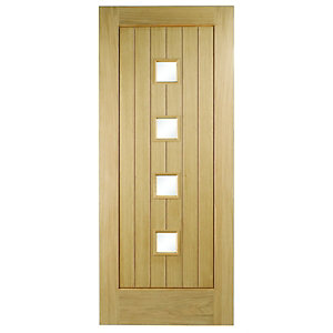 Wickes Sienna External Cottage Oak Veneer Door Glazed 1981 x 762mm