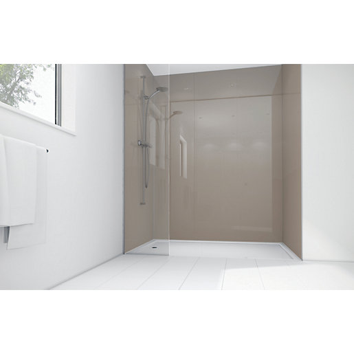 Wickes Coffee Acrylic 900 x 900mm 2 Sided Shower Panel Kit ...
