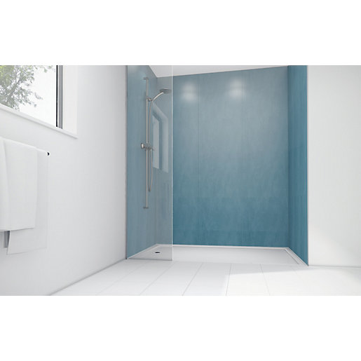 Wickes Ocean Spray Laminate 1200x900mm 2 sided Shower Panel Kit ...