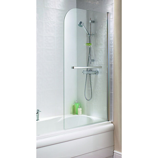 wickes half radius bath screen silver effect frame