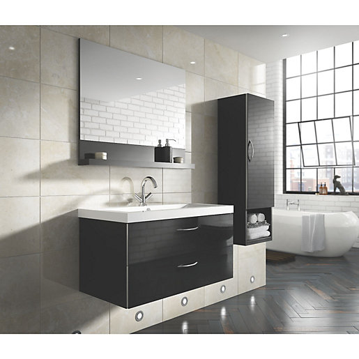 Bathroom Cabinets Black Gloss bientina mirror and shelf black gloss 900mm | wickes.co.uk