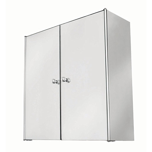 wickes bathroom double mirror cabinet stainless steel 440mm
