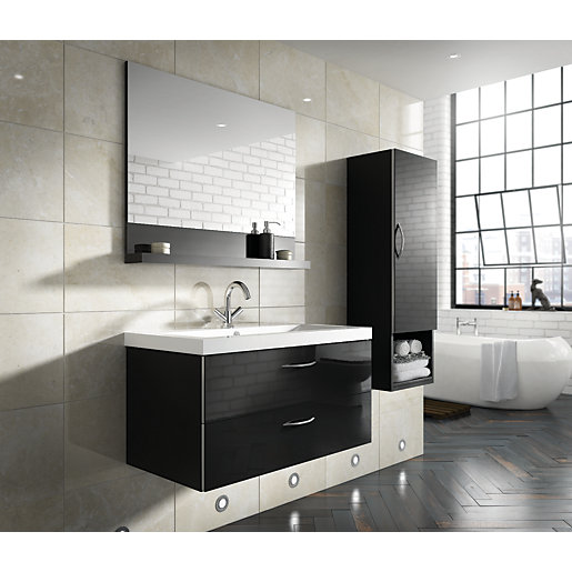 wickes bientina complete wall unit black gloss wickes co uk - Bathroom Cabinets Black Gloss