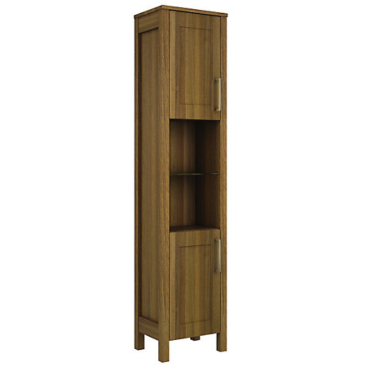 wickes frontera freestanding tall bathroom unit walnut - Tall Bathroom Cabinets Uk
