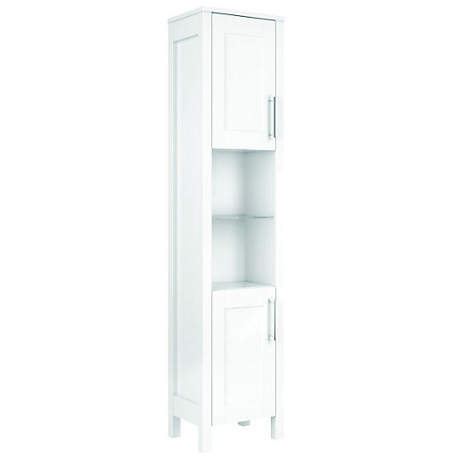 Wickes Frontera Freestanding Tall Bathroom Unit White 410mm. Bathroom Cabinets   Bathroom Furniture   Wickes co uk