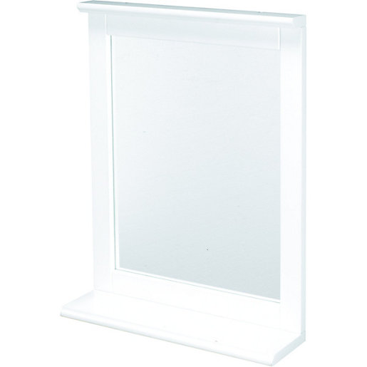 white bathroom mirror with shelf. wickes rectangular bathroom mirror with shelf - 430mm. mouse over image for a closer look. white