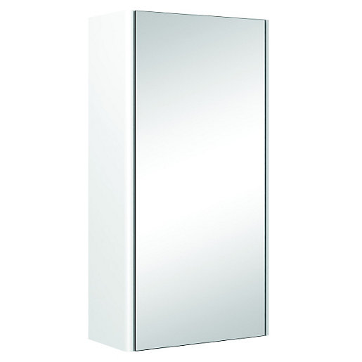 Wickes semi frameless single mirror bathroom cabinet for Bathroom cabinets 400mm
