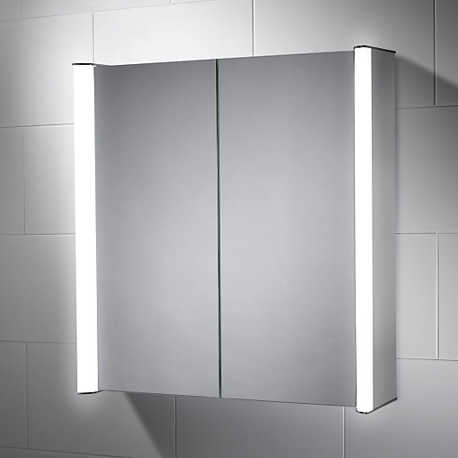 wickes oceana double led mirror cabinet with intergrated shaver socket