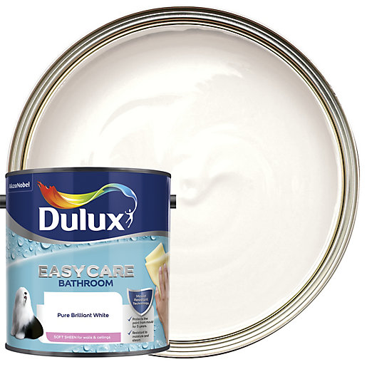 White Bathroom Paint Dulux dulux bathroom+ soft sheen emulsion paint - pure brilliant white
