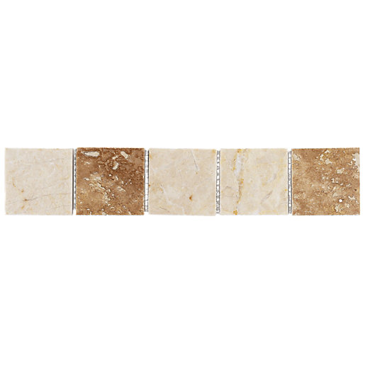Wickes beige matt marble border tile 250 x 48mm wickescouk for Wickes bathroom border tiles