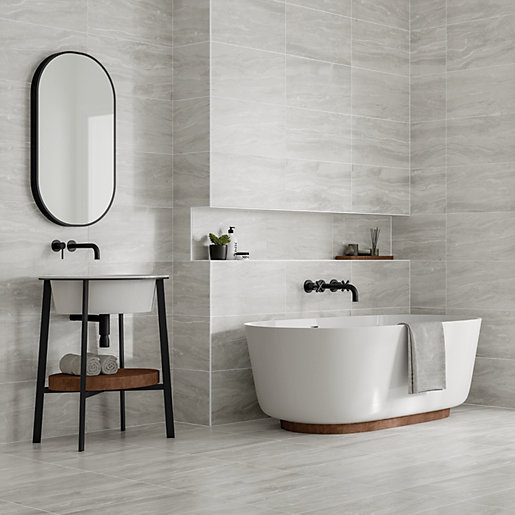 wickes callika mist grey porcelain floor wall tile 600 x 300mm - Bathroom Tiles Images
