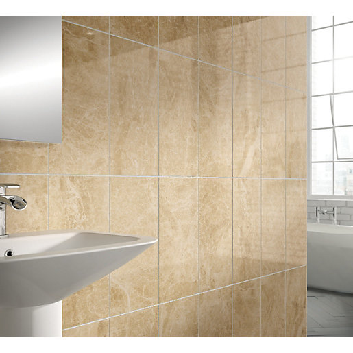 Bathroom Tiles Wickes : Wickes emperador wall tile cream mm