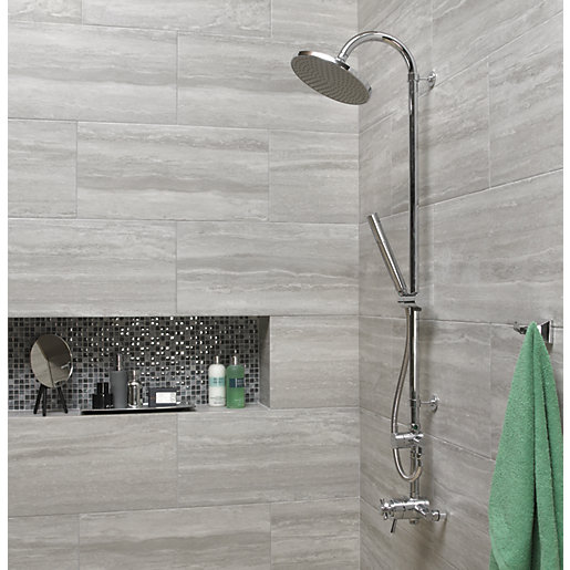 wickes everest stone porcelain tile 600 x 300mm - Bathroom Tiles Images